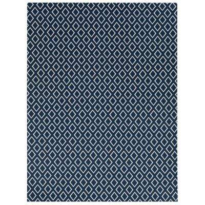 Printed Diamond Blue/White 6 ft. x 8 ft. Indoor/Outdoor Area Rug