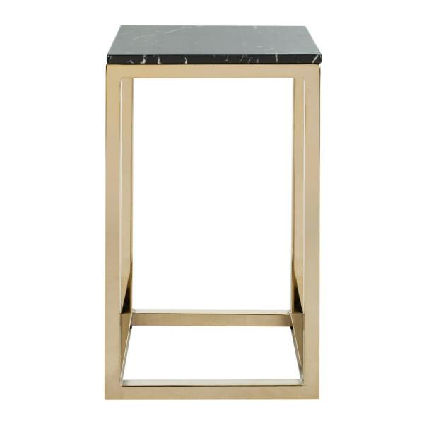 Leah Black Marble and Brass Side Table