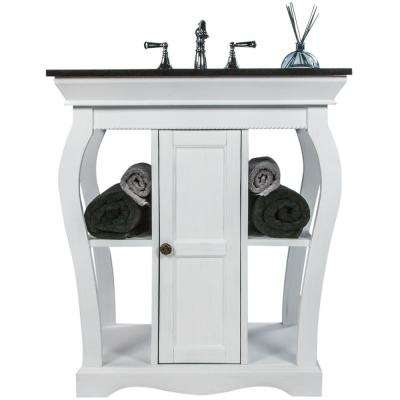 Vineta 31 in. W x 21.65 in. D Bath Vanity in Antique White with Granite Vanity Top in Black with Black Nickel Basin
