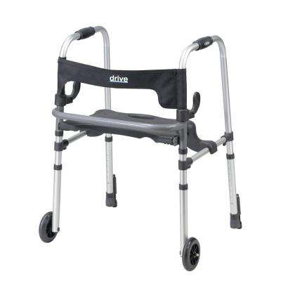 Clever Lite LS 2-Wheel Rollator Walker with Seat and Push Down Brakes