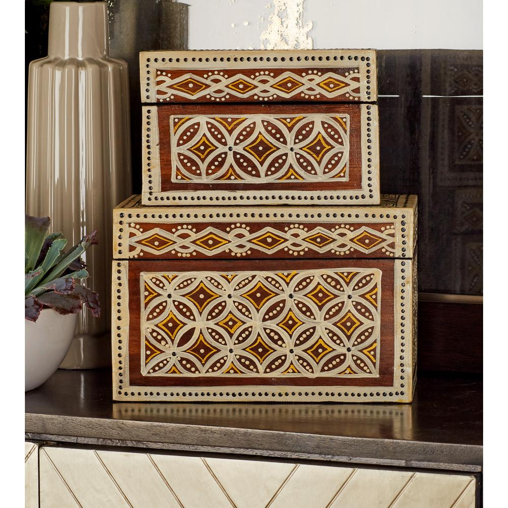Rectangular Wood Floral Batik Paint Decorative Boxes with Lid (Set of
