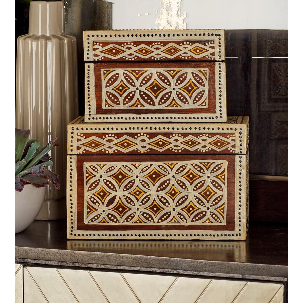 Rectangular Wood Floral Batik Paint Decorative Boxes with Lid (Set of 3)