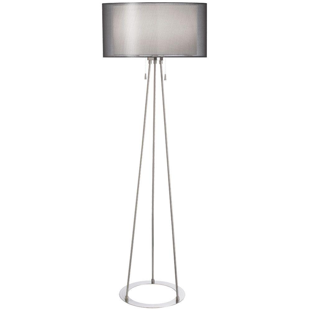 Filament Design Catherine 68 in. Incandescent Satin Chrome Floor Lamp with Black Organza Shades