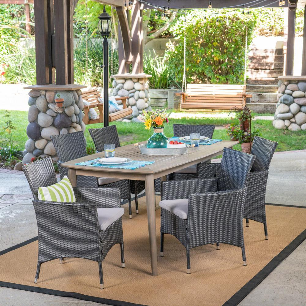 Noble House Jaxon Gray 7-Piece Wood And Wicker Outdoor