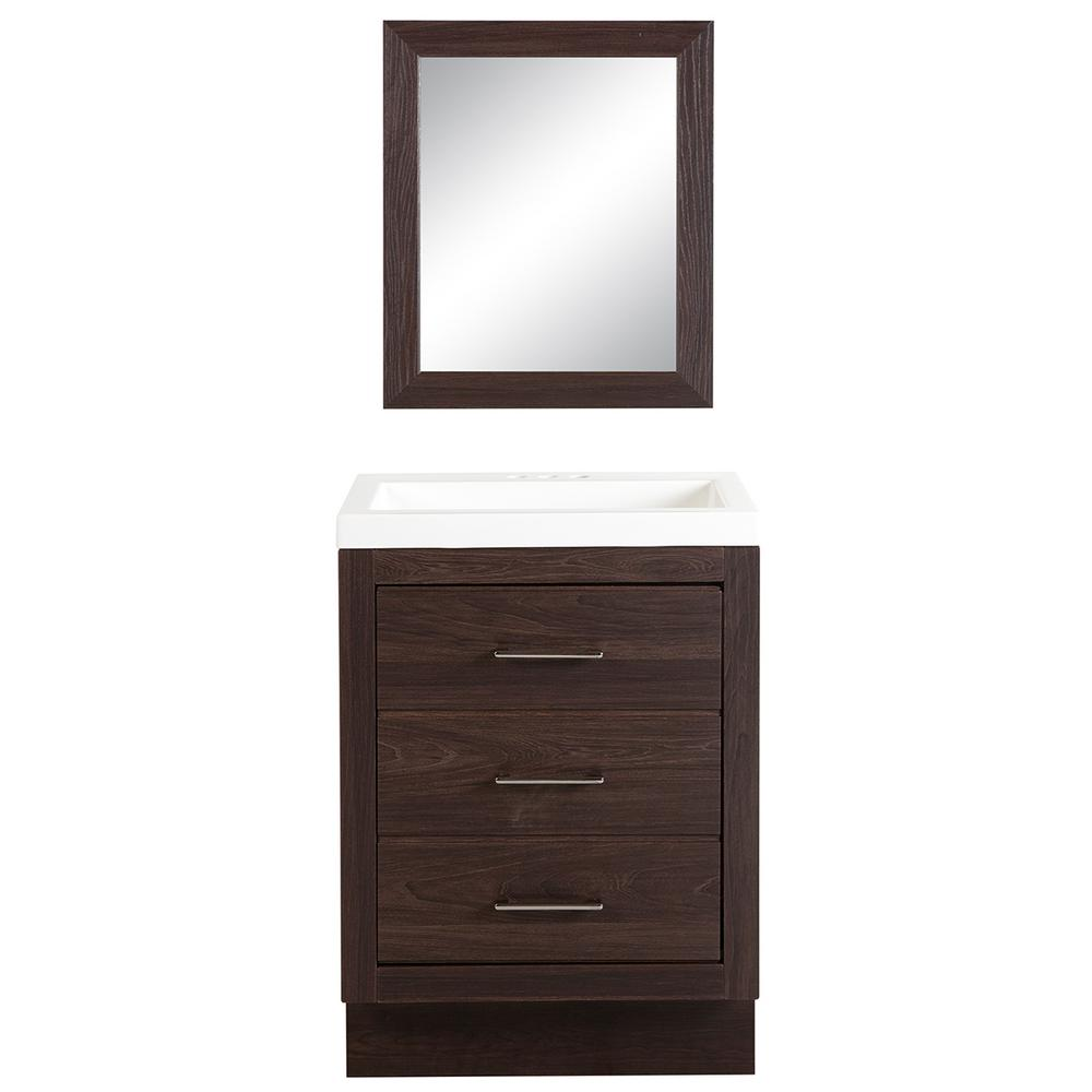Glacier Bay Collinswood 24 in. Bath Vanity in Elm Ember with Cultured Marble Vanity Top in White with White Basin and Mirror