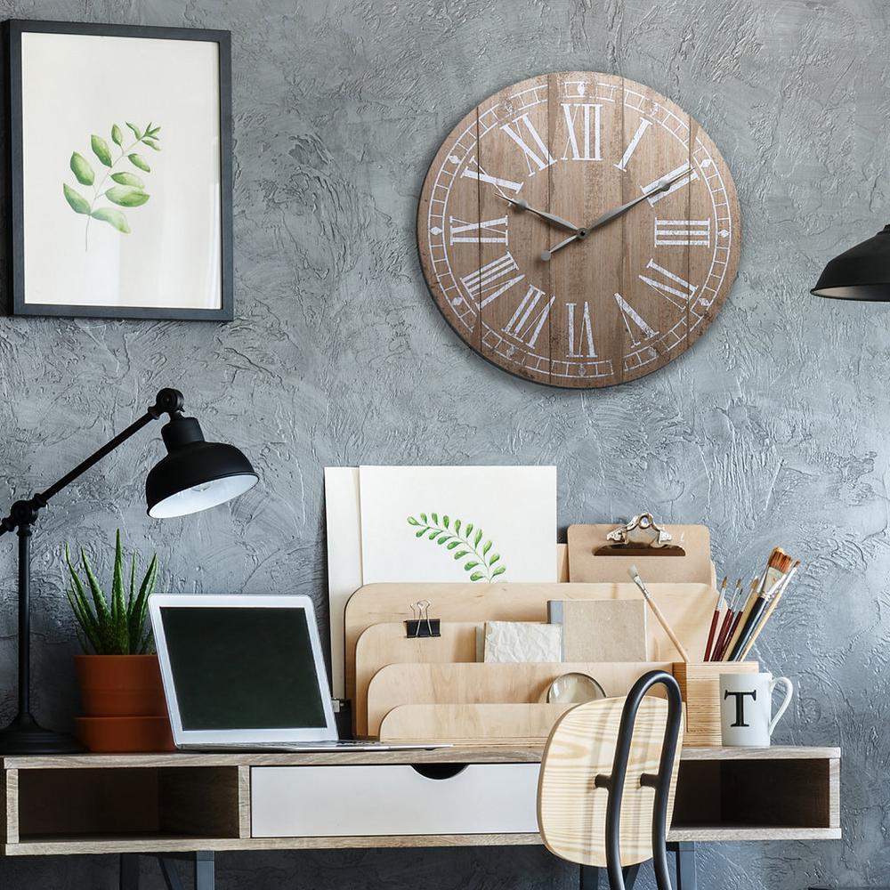 Plank Farmhouse Brown Wall Clock