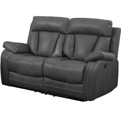 Gray Bonded Leather Motion Loveseat (2 Reclining Seats)