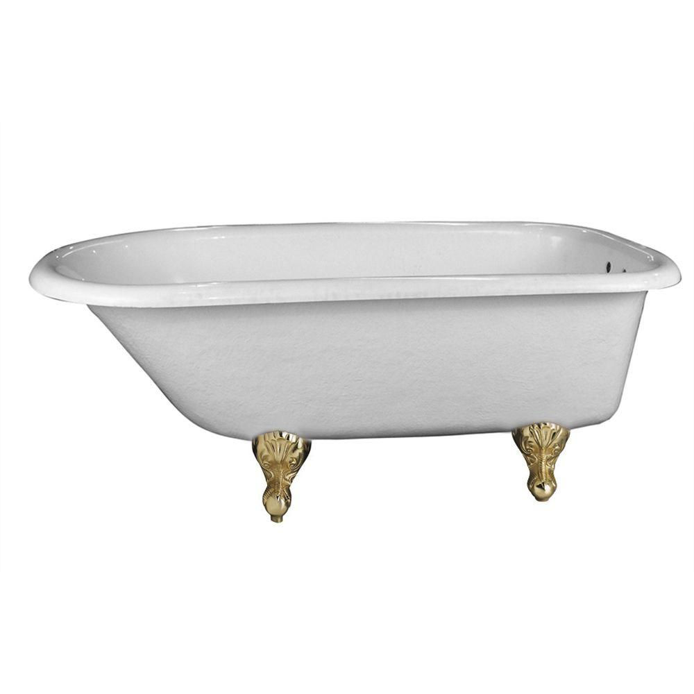 5 ft. Acrylic Ball and Claw Feet Roll Top Oval Tub