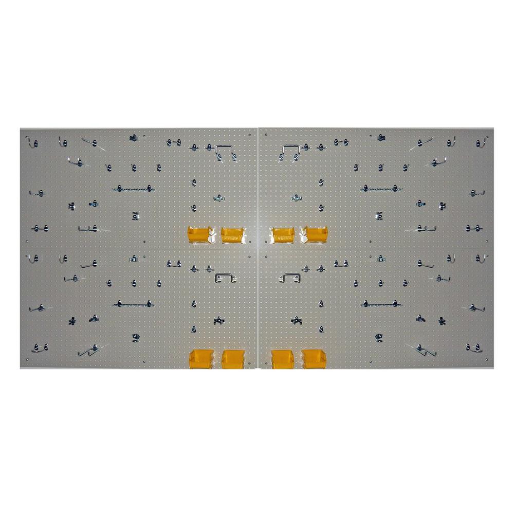 DuraBoard and DuraHook Complete Polypropylene Commercial Grade Pegboard Storage System 4 boards/96 Hooks/8 Bins