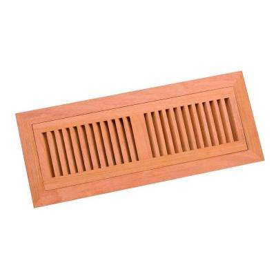 4 in. x 14 in. Wood Brazilian Cherry Unfinished Flush Mount Vent Register