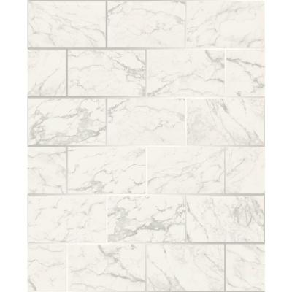 Mirren Off-White Marble Subway Tile Wallpaper