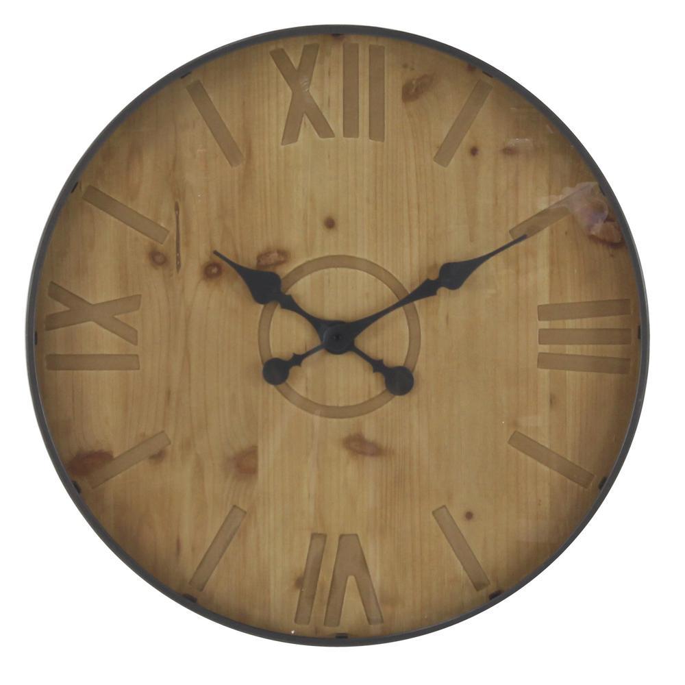 Rustic 32 inch black wall clock