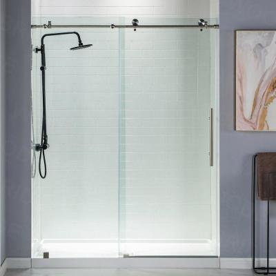 Norwich 56 in. to 60 in. x 76 in. Frameless Sliding Shower Door with Shatter Retention Glass in Brushed Nickel