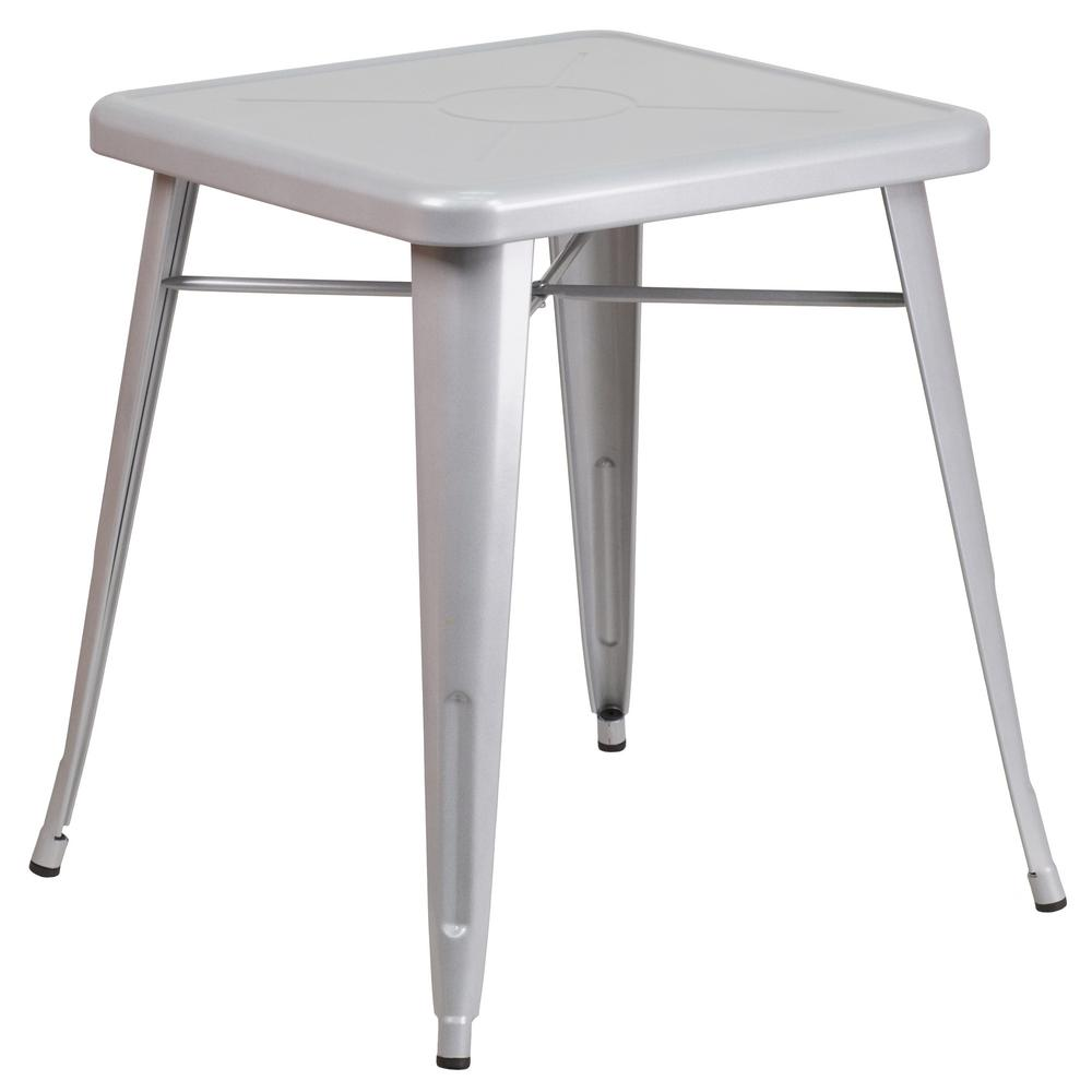 Gray Square Metal Outdoor Bistro Table