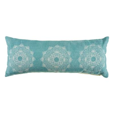 14 in. x 36 in. Ornate Teal Tri Medallion Rectangle Cotton Standard Throw Pillow