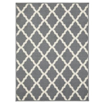 Glamour Collection Gray 2 ft. 3 in. x 3 ft. Trellis Design Runner Rug
