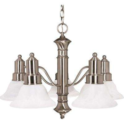 5-Light Brushed Nickel Chandelier with Alabaster Glass Bell Shades
