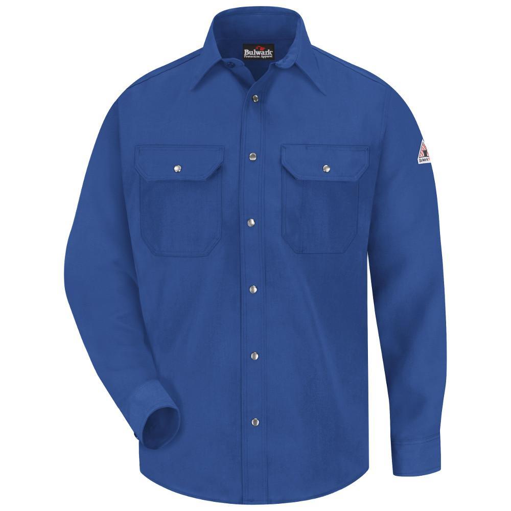 6631bdc1e9c4c Bulwark Nomex IIIA Men s Small Royal Blue Snap-Front Uniform Shirt ...
