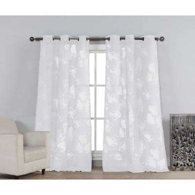 Sheer Aster 84 in. L Burnout Grommet Panel in White