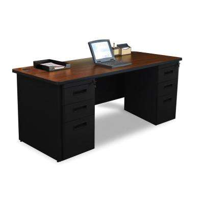 72 in. W x 36 in. D Mahogany Laminate and Black Double Full Pedestal Desk