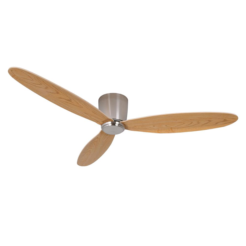 Radar 52 in. DC Ceiling Fan in Brushed Chrome with Teak Blades