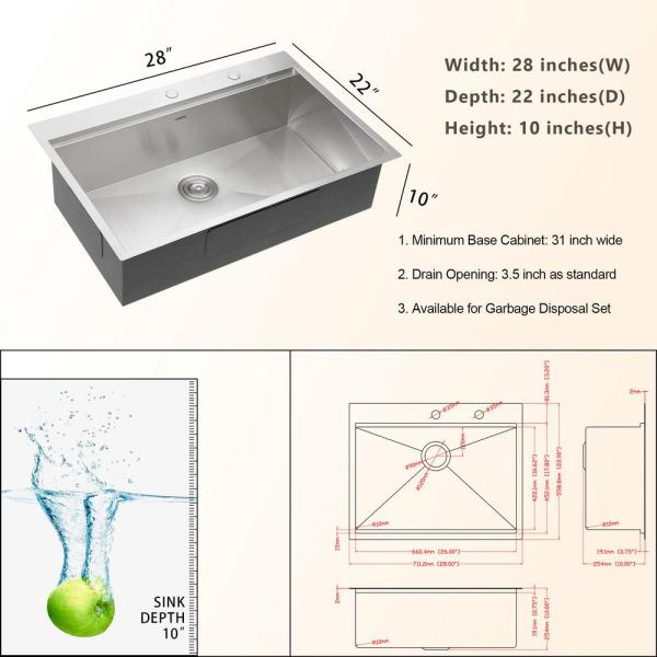 Lordear Stainless Steel 28 In Single Bowl Drop In Kitchen Sink Workstation Ledge 16 Gauge Topmount Sink Basin With Accessories Lts2822a1 The Home Depot