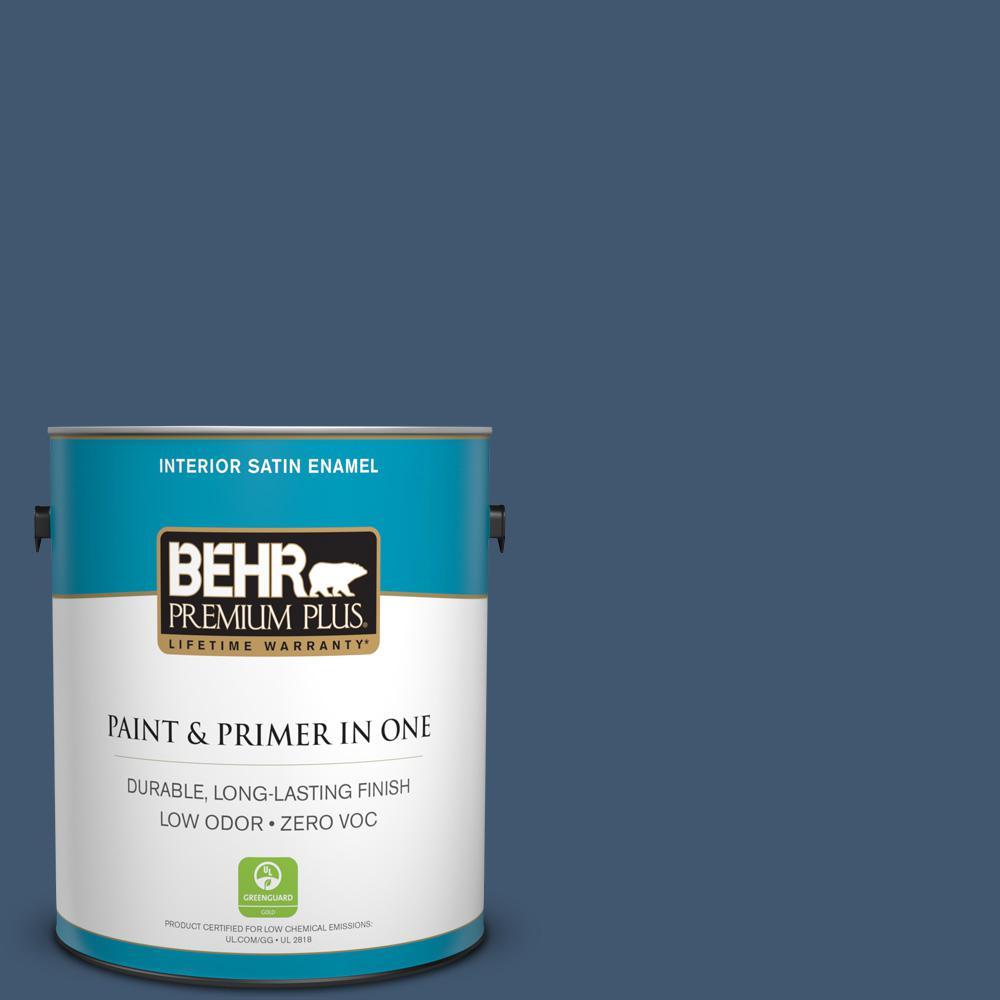 BEHR Premium Plus 1-gal. #S500-7 Infinite Deep Sea Satin Enamel Interior Paint