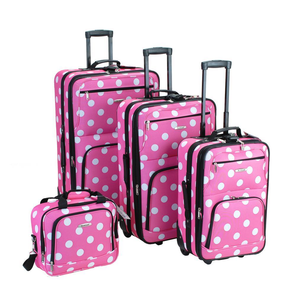 Rockland Beautiful Deluxe Expandable Luggage 4-Piece Softside Luggage Set, Pinkdot