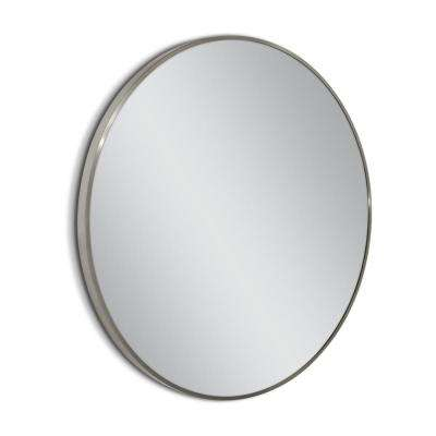 Spectrum 35 in. Metal Circle Wall Mirror in Brush Nickel