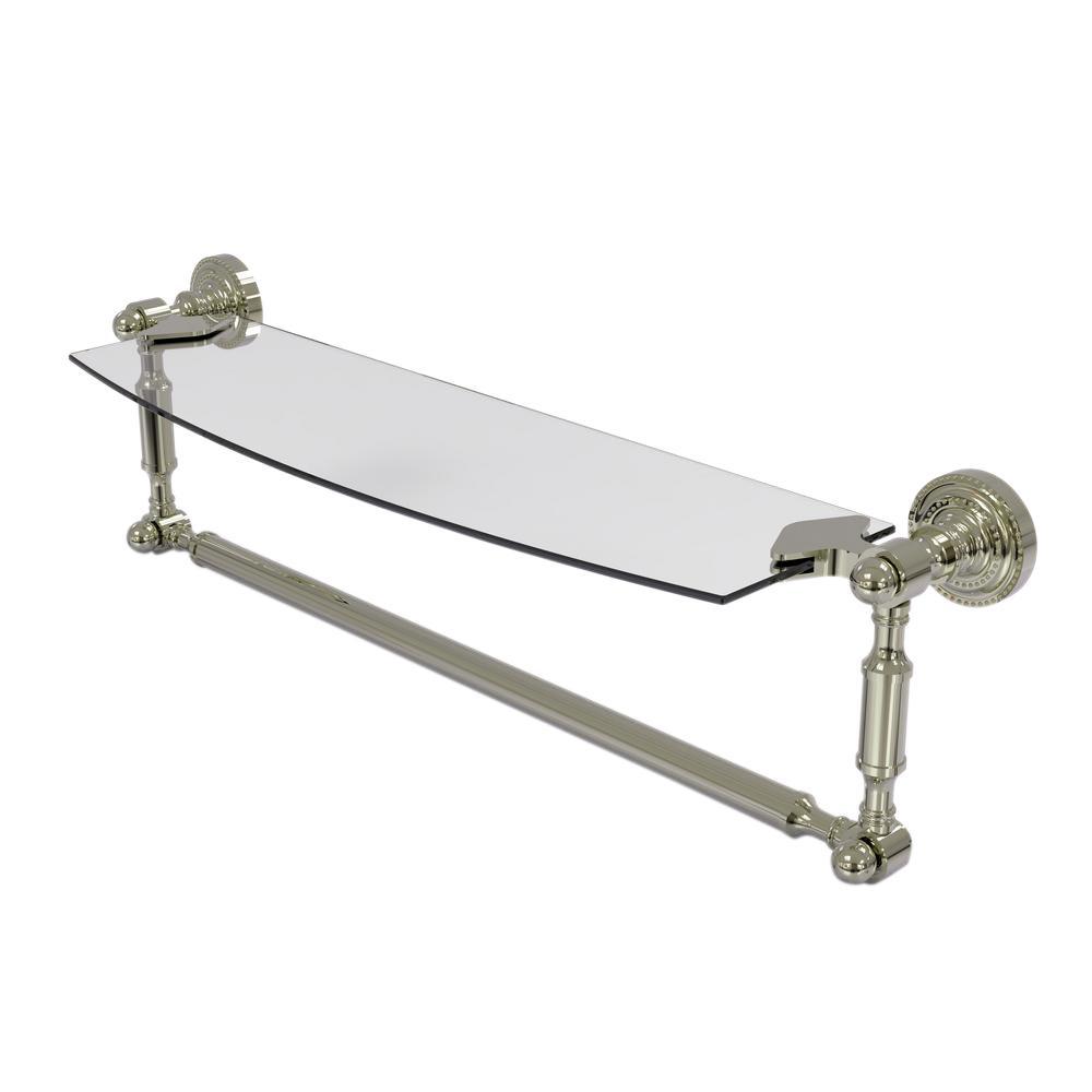 Allied Brass Dottingham 18 in. L  x 5 in. H  x 5 in. W Clear Glass Vanity Bathroom Shelf with Towel Bar in Polished Nickel