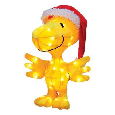 18 in. Pre-Lit Peanuts Tinsel Santa Claus Woodstock Outdoor Decoration and Clear Lights