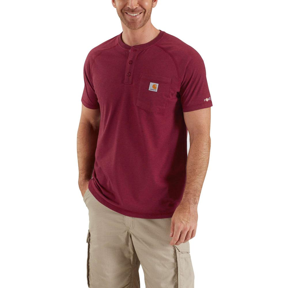 176e457a MEN'S MEDIUM RED BROWN HEATHER COTTON/POLYESTER FORCE COTTON DELMONT SHORT SLEEVE  HENLEY RELAXED FIT TSHIRT