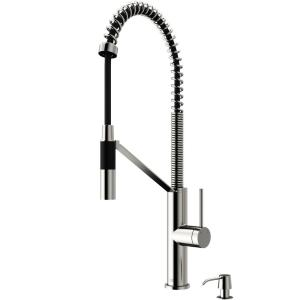 Livingston Single-Handle Pull-Down Sprayer Kitchen Faucet with Soap Dispenser in Stainless Steel