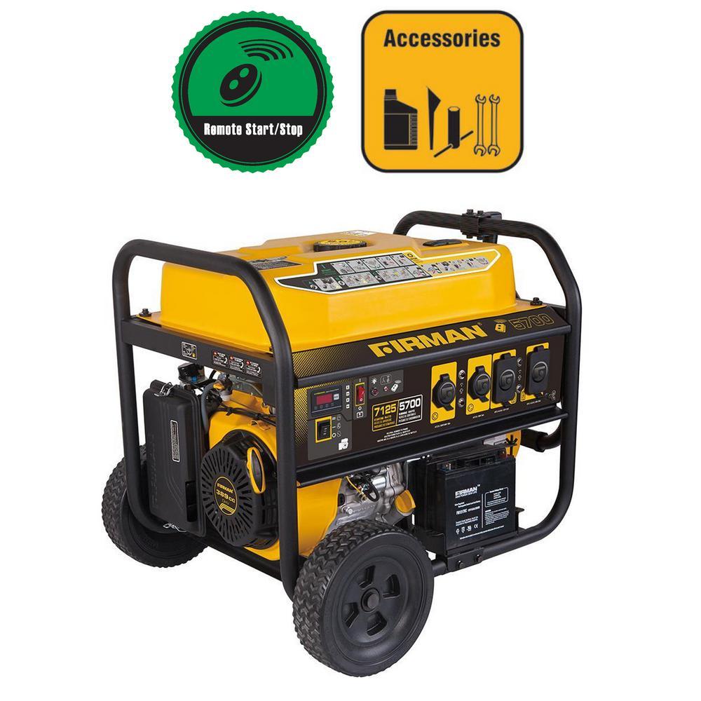 7100 5700 Watt 120 240v Remote Start Gas Portable Generator