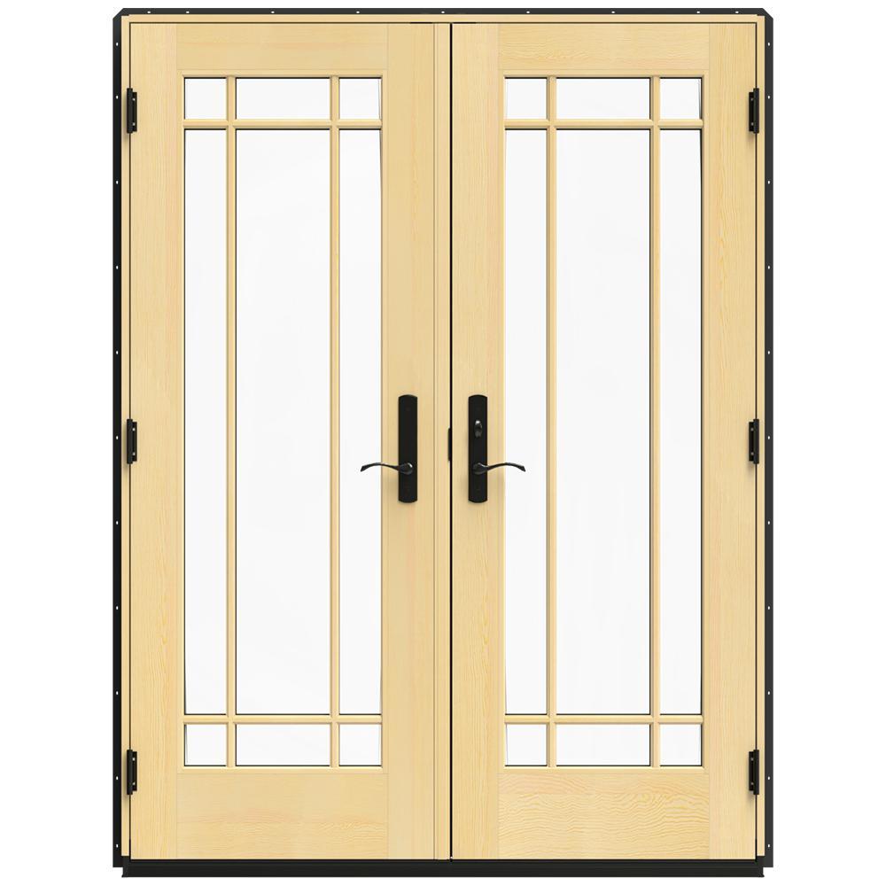 Jeld Wen 60 In X 80 In W 4500 Bronze Clad Wood Left Hand 9 Lite French Patio Door W Lacquered