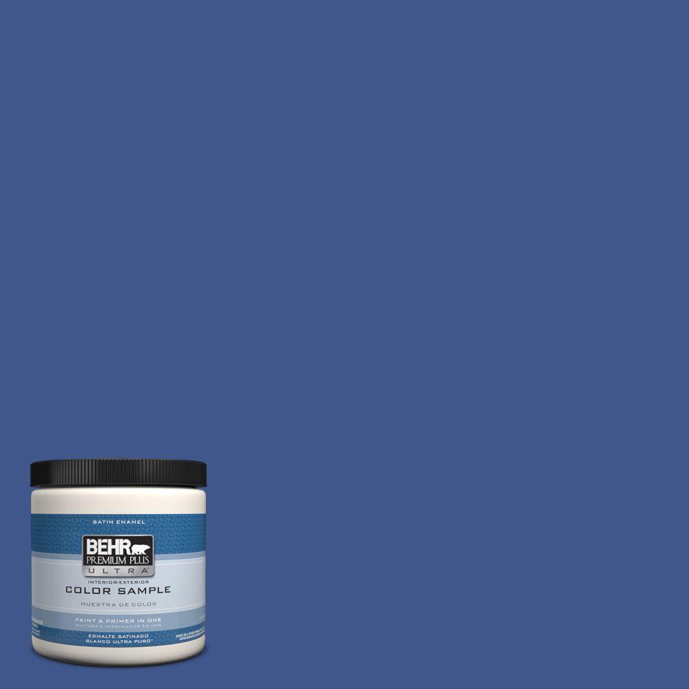 Behr Premium Plus Ultra 8 Oz Ppu15 3 Dark Cobalt Blue Interior Exterior Satin Enamel Paint
