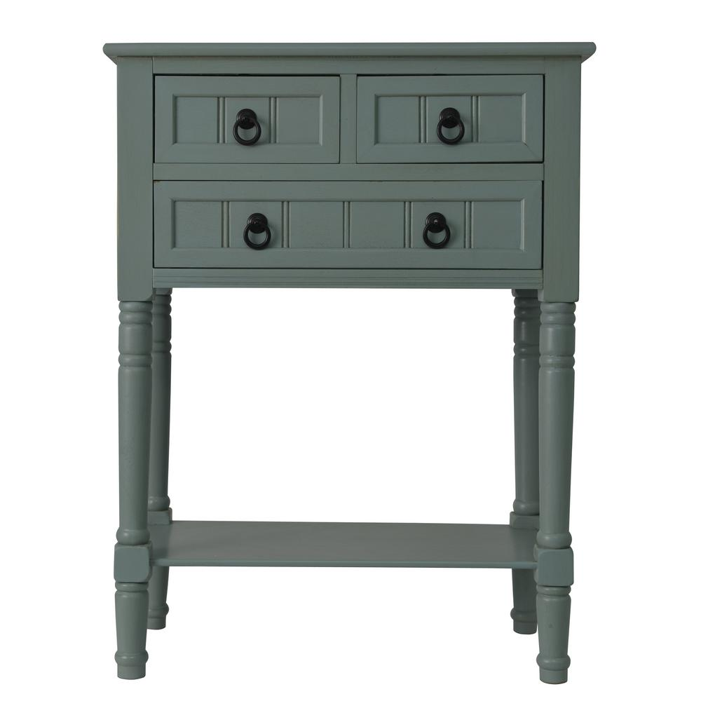 Antique iced blue 3 drawer console accent table