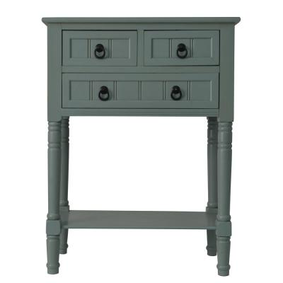 Antique Iced Blue 3-Drawer Console Accent Table