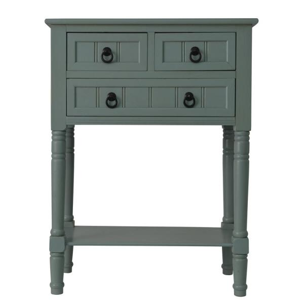 24 in. Antique Iced Blue Standard Rectangle Wood Console Table with Drawers