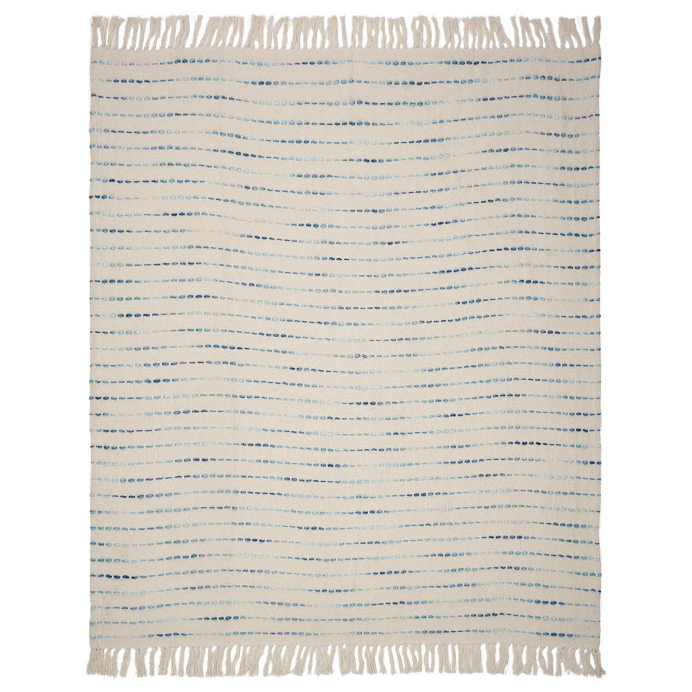 LR Resources Deep Oceanic 50 in. x 60 in. Blue/Cream Decorative Throw Blanket