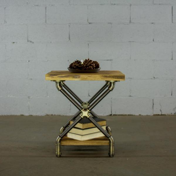 Houston Industrial, Natural Rectangle Pipe Side/End Table Bedroom Night Stand 2-Shelf-Metal-Reclaimed/Aged Wood