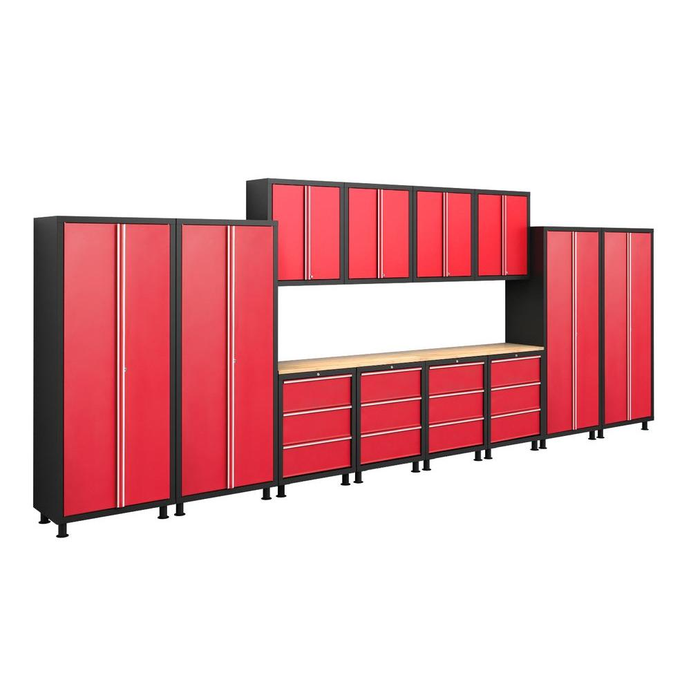 NewAge Products Bold Series 72 in. H x 224 in. W x 18 in. D 24-Guage Welded Steel Garage Cabinet Set in Red (14-Piece)