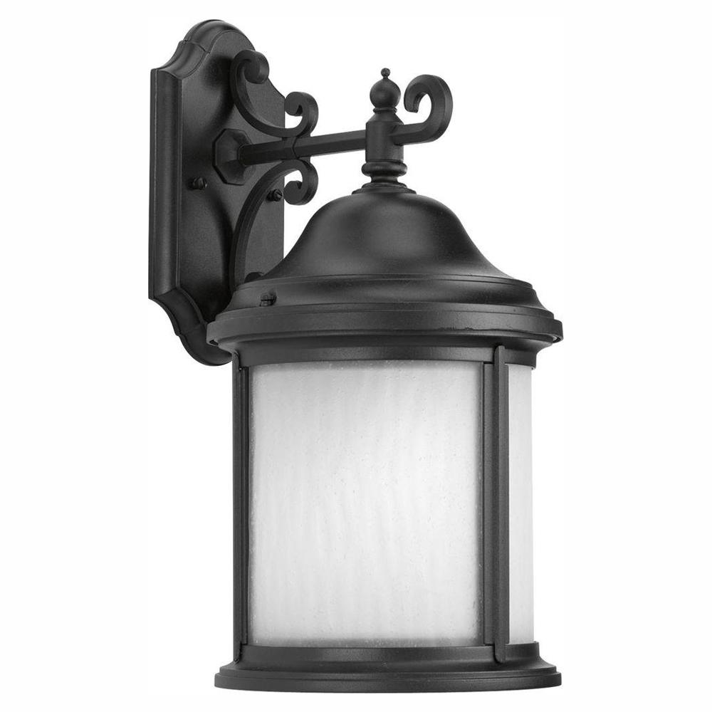Progress Lighting Ashmore Collection Black 17 in. Outdoor Wall Lantern Sconce