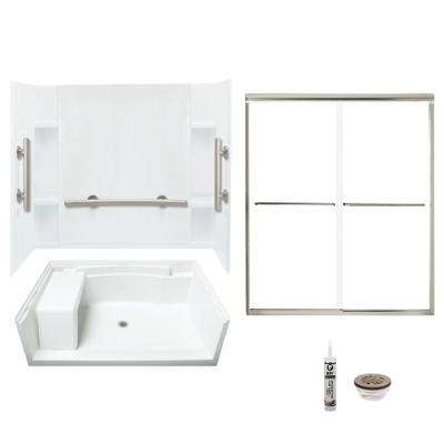 Accord 36 in. x 60 in. x 74.75 in. Center Drain Alcove Shower Kit and Grab Bars in White and Brushed Nickel