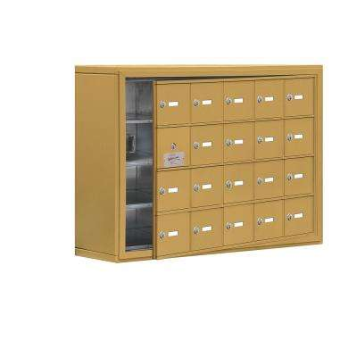 19100 Series 37 in. W x 25.5 in. H x 9.25 in. D 19 Doors Cell Phone Locker Surface Mount Keyed Lock in Gold