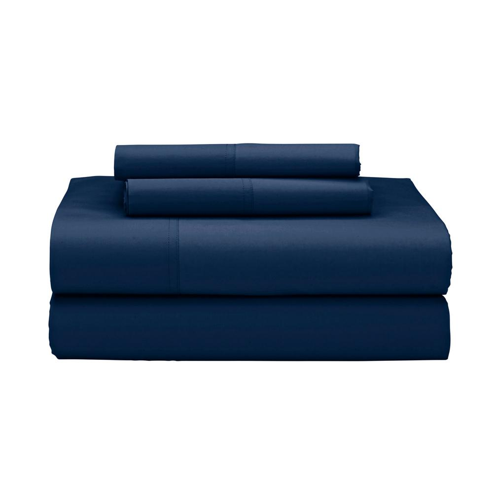 4-Piece Navy (Blue) 400 Thread Count Supima Percale Calif...