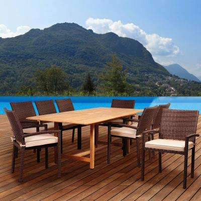 Emerald 9-Piece Teak/Wicker Rectangular Extendable Patio Dining Set with Antique Beige Sunbrella Cushions