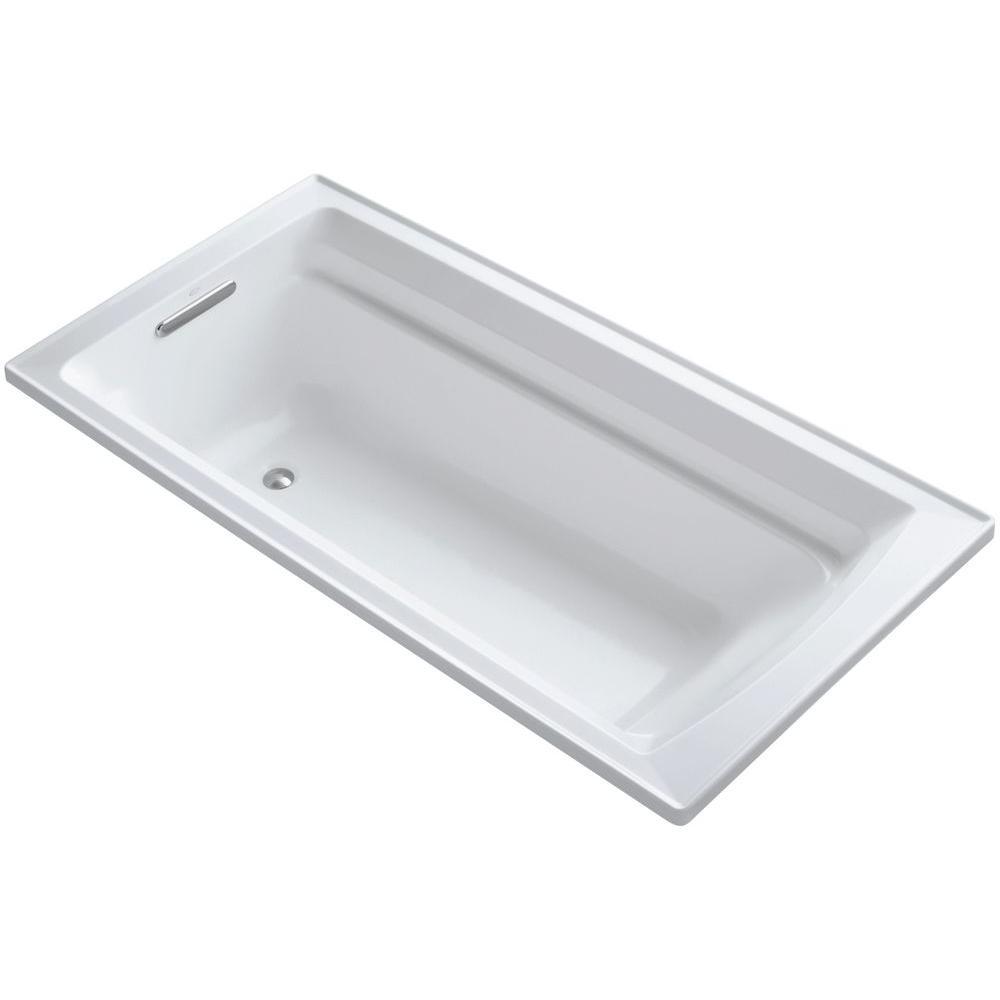 KOHLER Archer 6 ft. Reversible Drain Soaking Tub in White with Bask ...