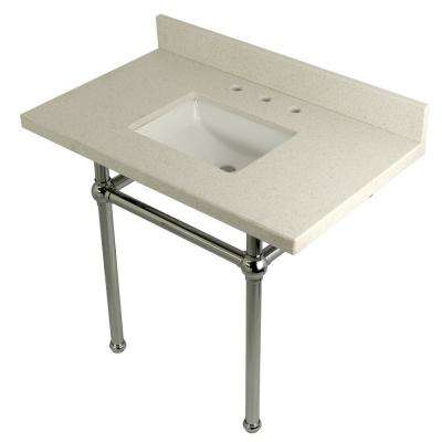 Square-Sink Washstand 36 in. Console Table in White Quartz with Metal Legs in Polished Chrome