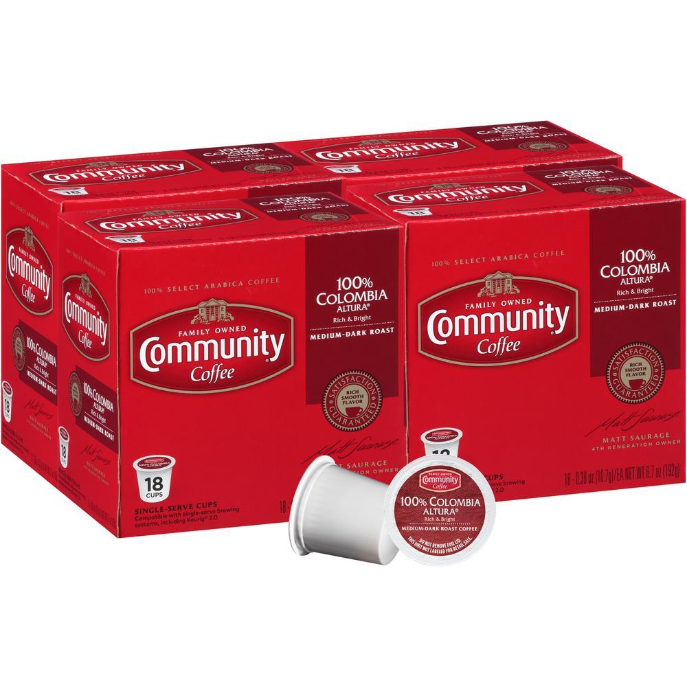 Community Coffee 100% Colombia Altura Medium-Dark Roast Coffee Single Serve Cups